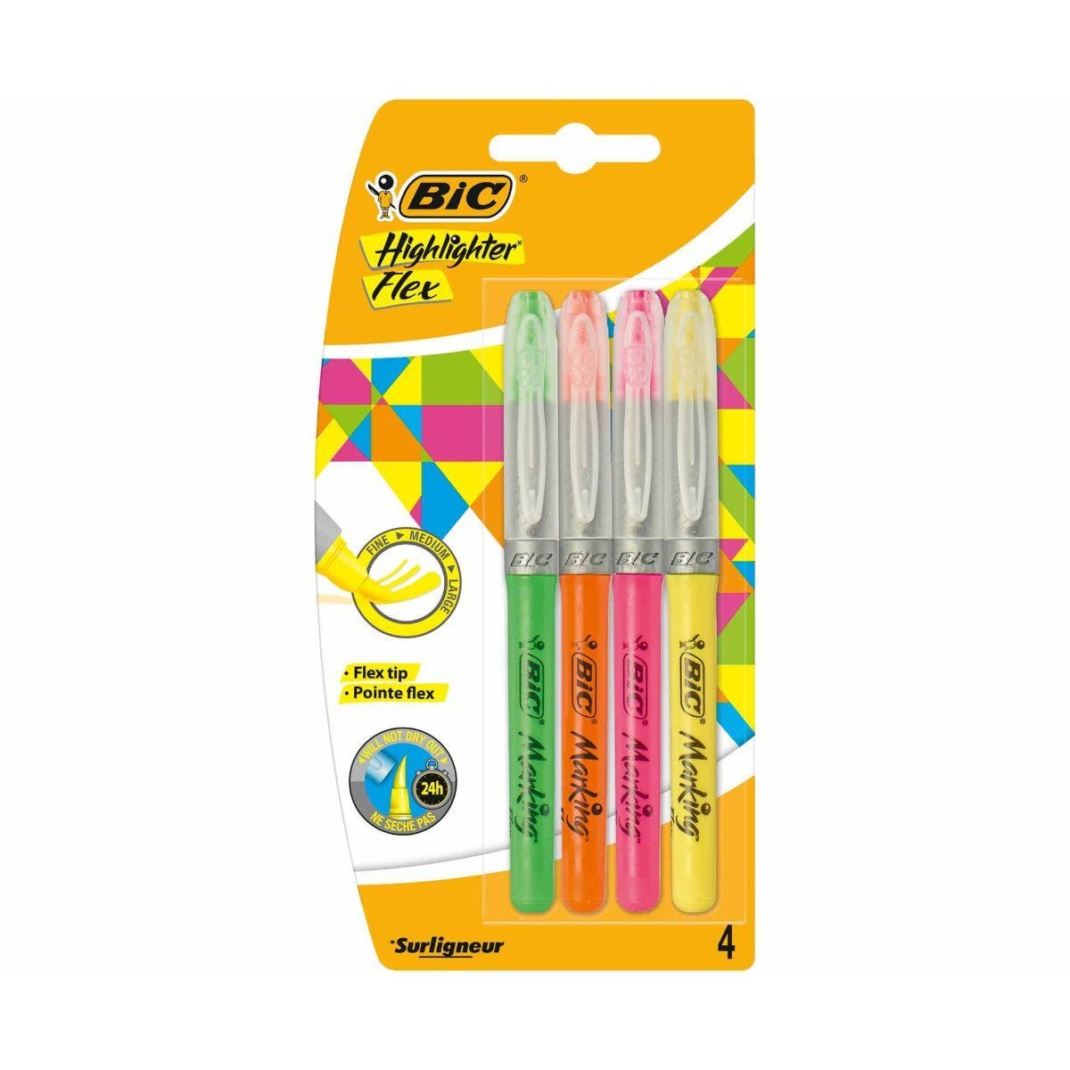 BiC Flex Brush Marking Highlighters Pack of 4