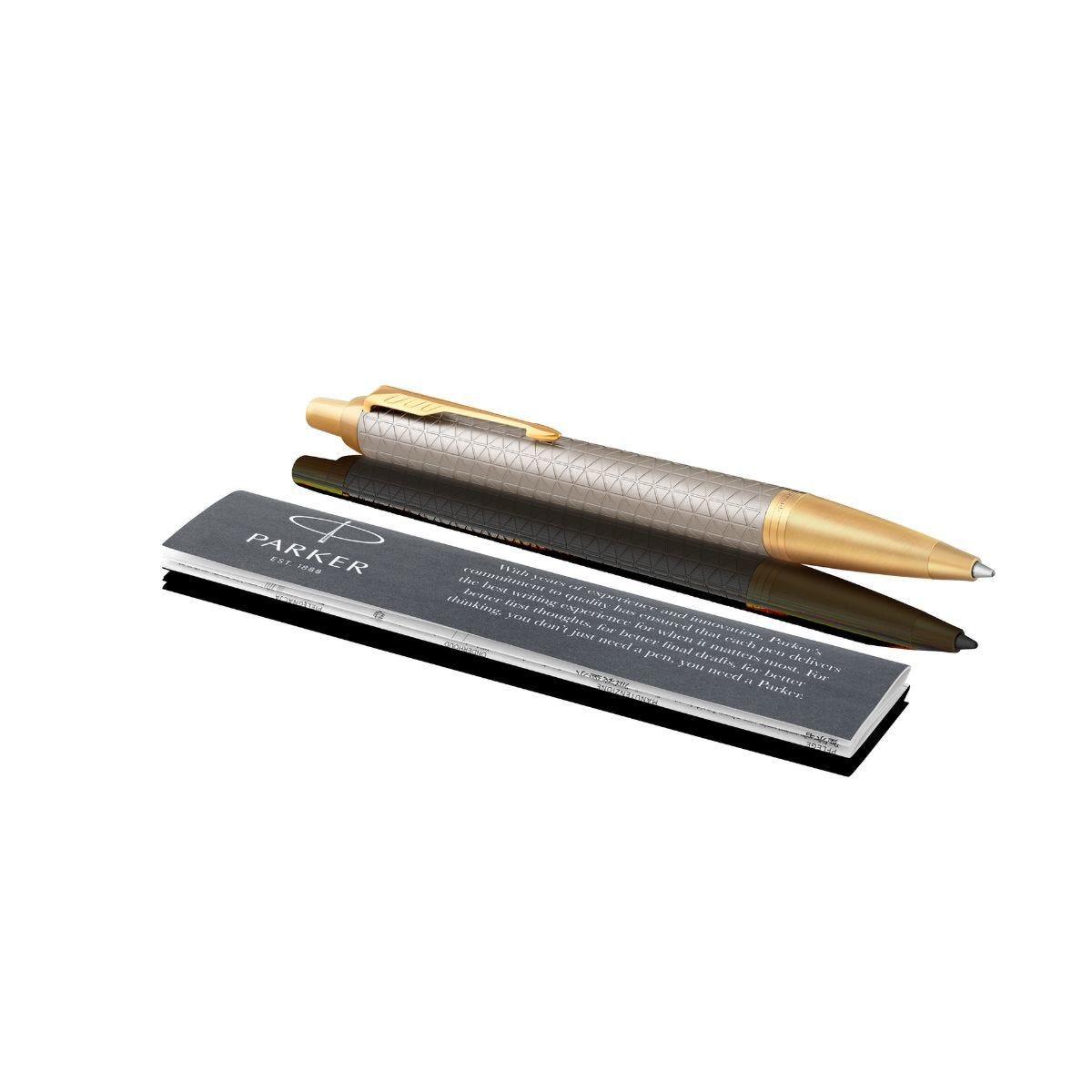 Parker Premium Warm Grey Gold Trim Ball Pen
