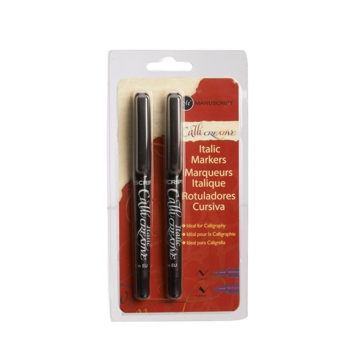 Manuscript Italic Markers Medium Extra Broad Pack of 2 Black