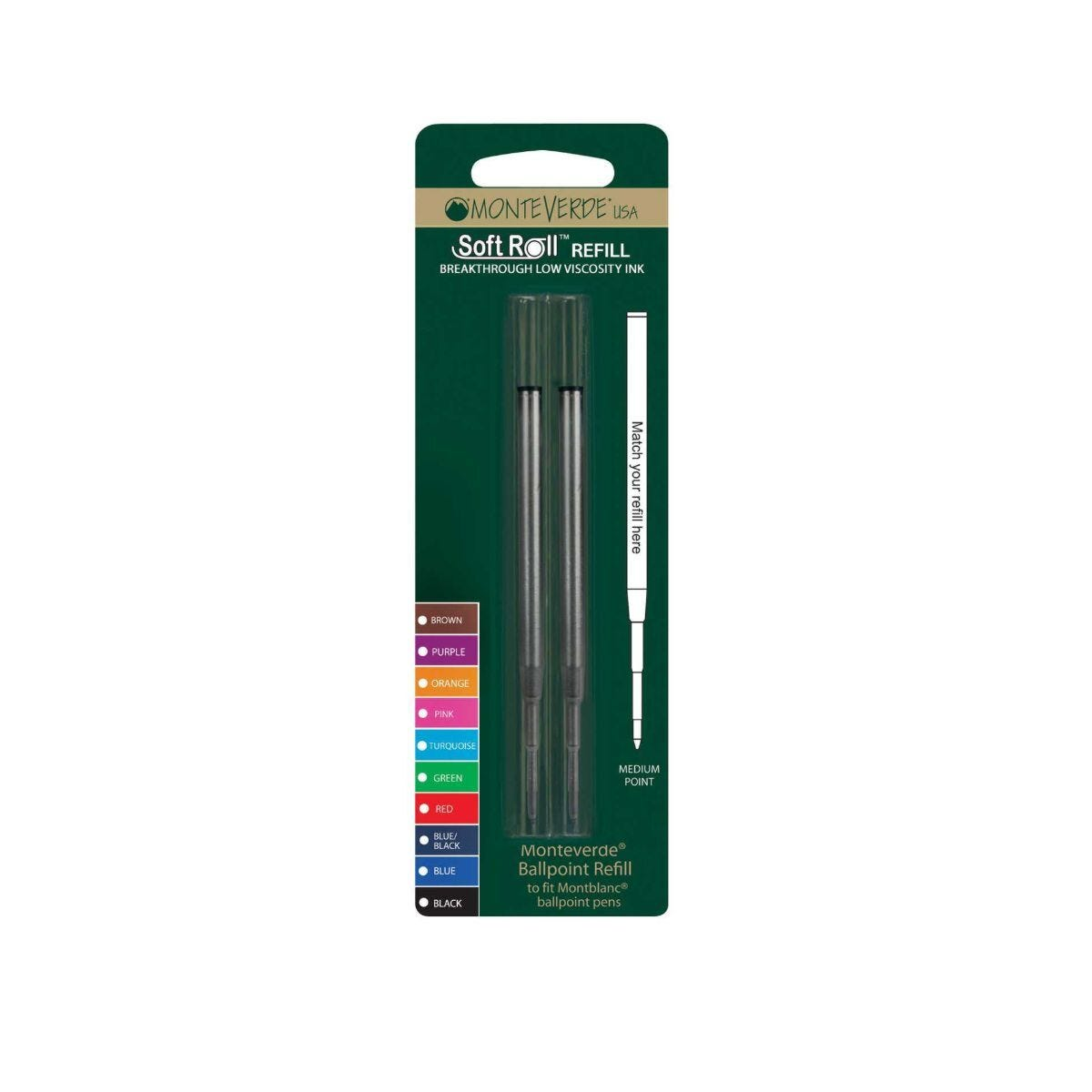 Ballpoint Medium Refill to fit Montblanc 2 Pack Blue