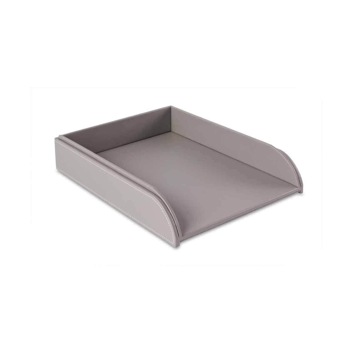 Osco Letter Tray Faux Leather Grey