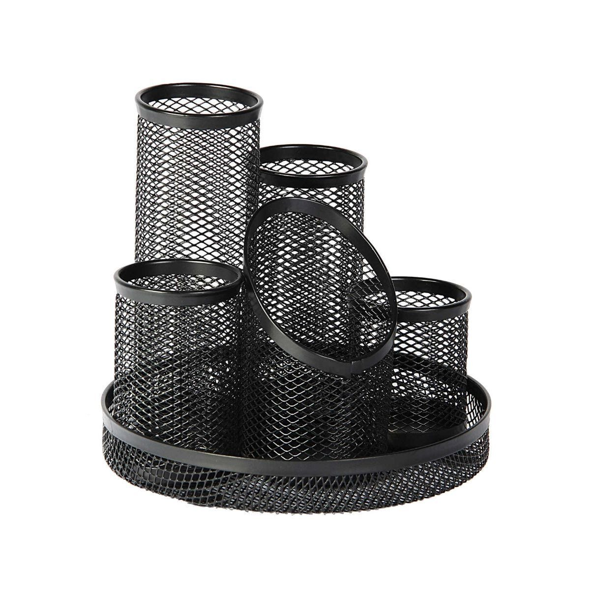 Osco Mesh 5 Tube Pen Pot Black