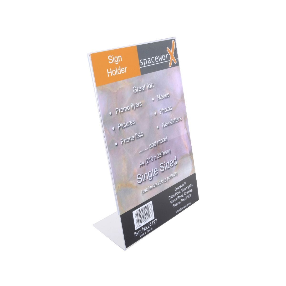 Deflecto Sign Holder A4 Acrylic