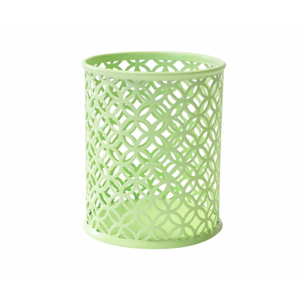 Ryman Geometric Metal Pen Pot Pastel Green