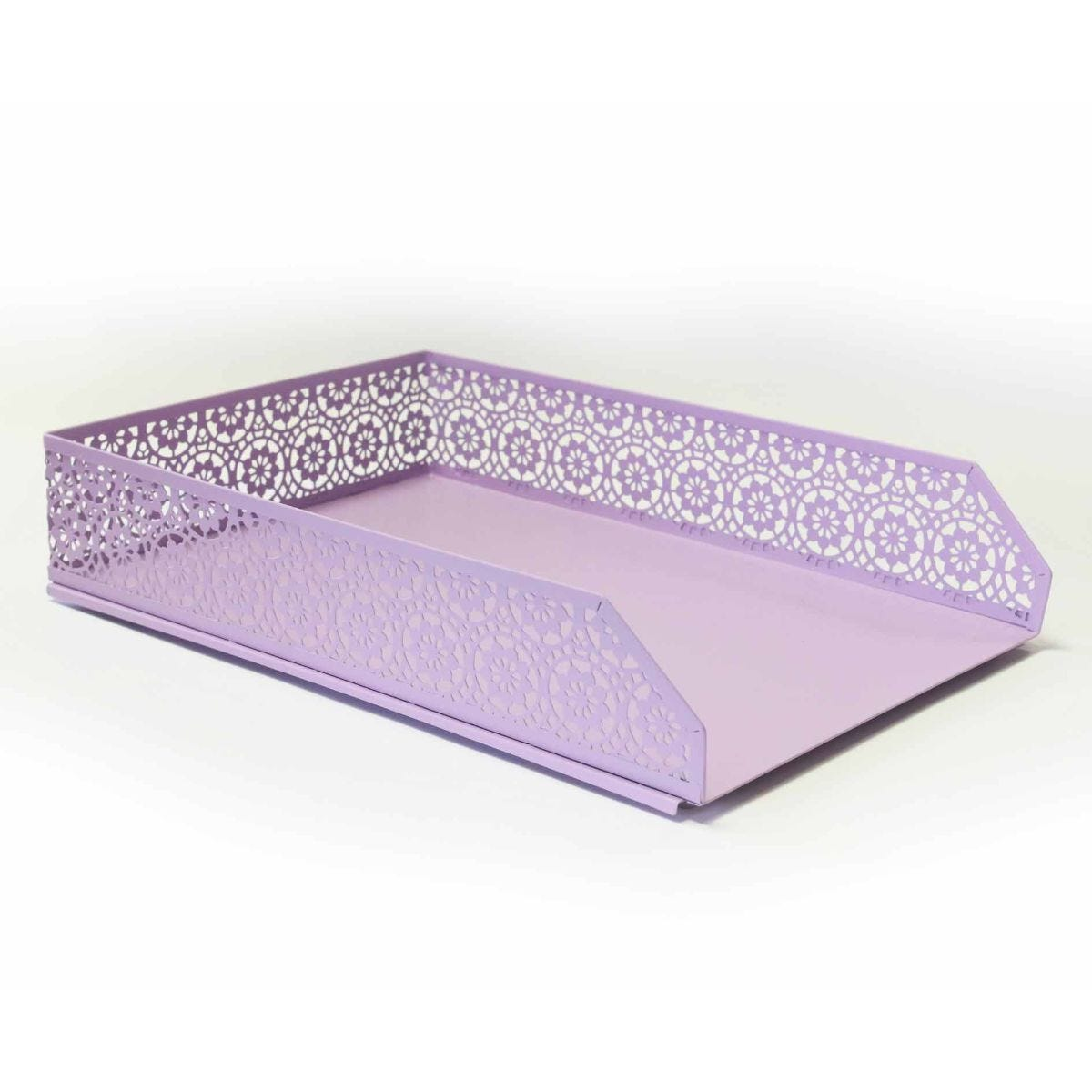 Ryman Floral Metal Letter Tray A4 Pastel Purple