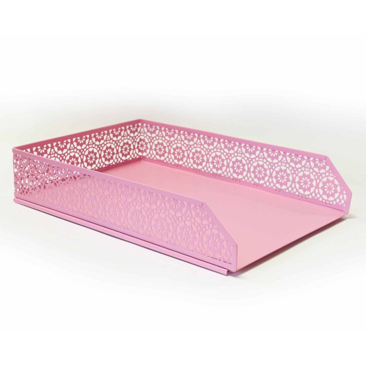Ryman Floral Metal Letter Tray A4 Pastel Pink