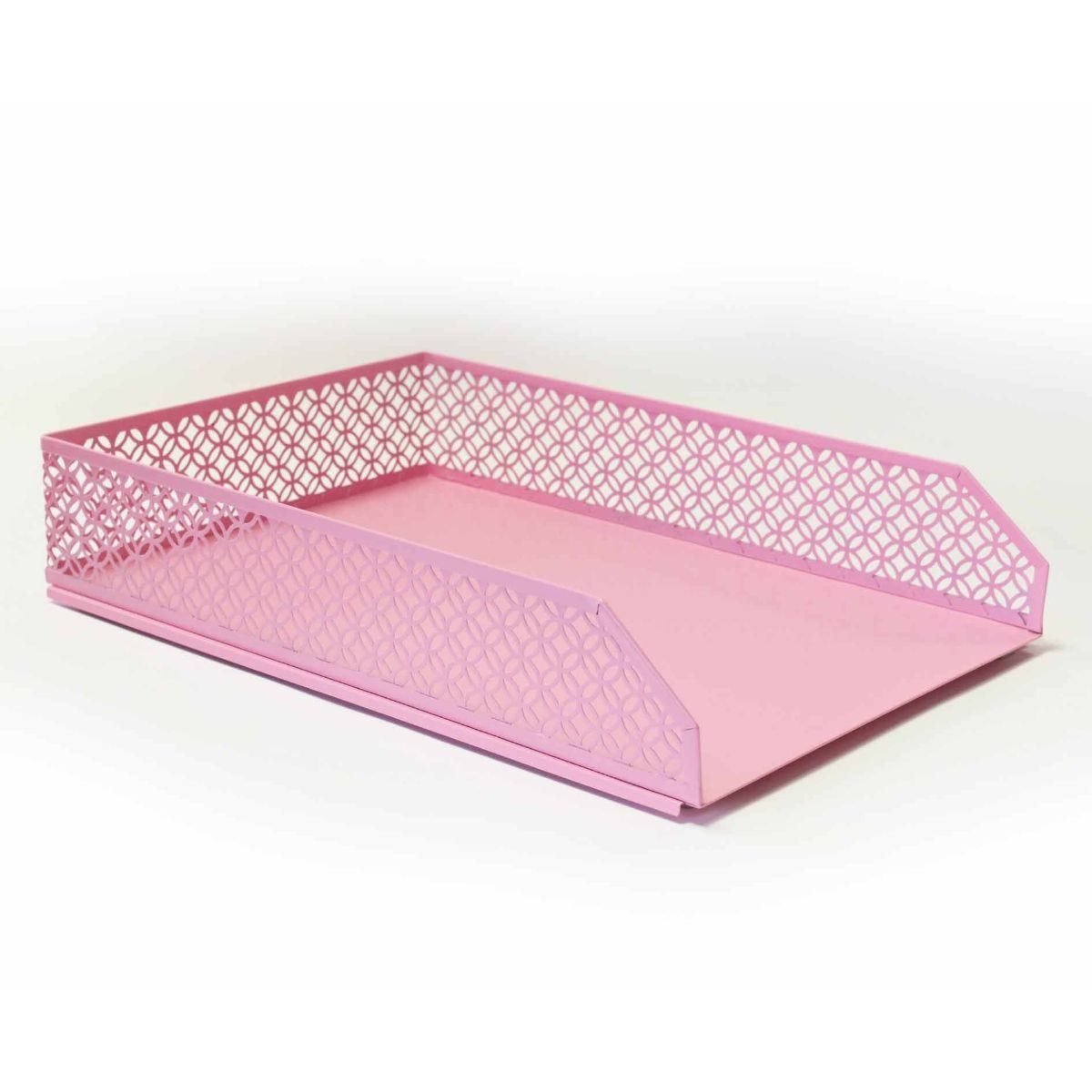 Ryman Geometric Metal Letter Tray A4 Pastel Pink