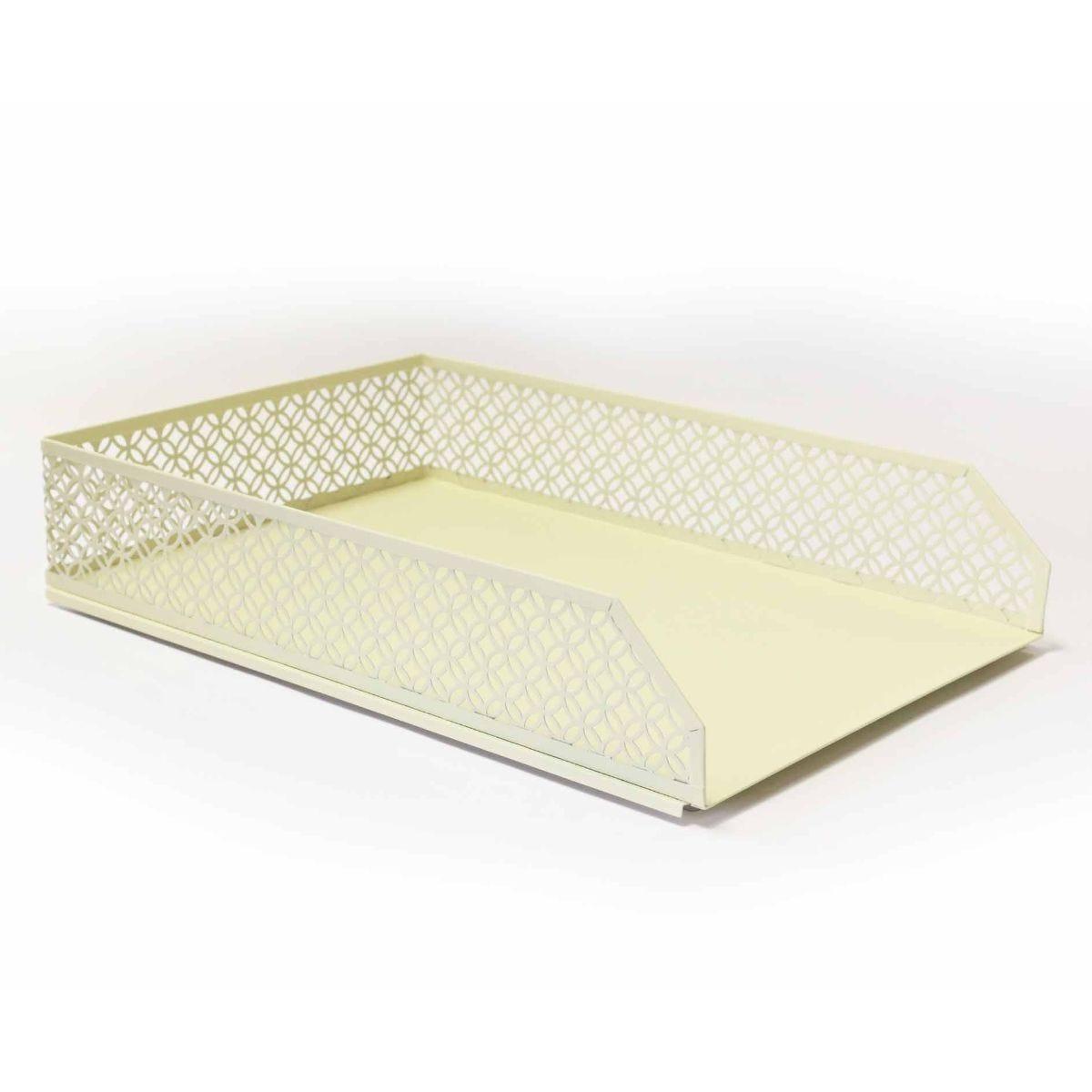 Ryman Geometric Metal Letter Tray A4 Pastel Yellow