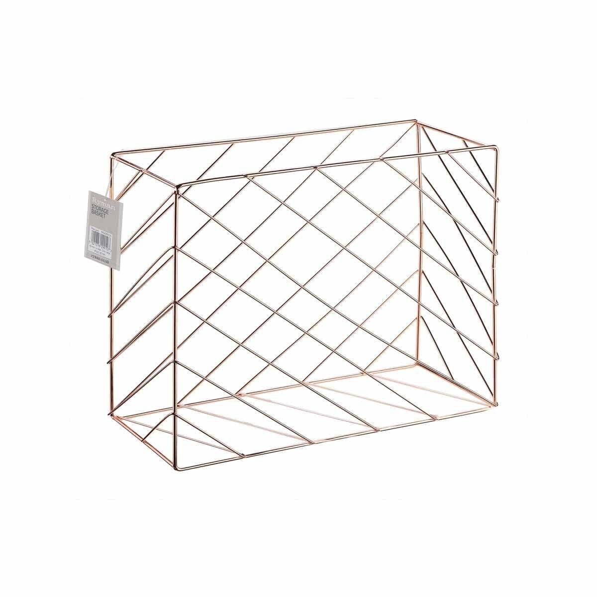 Ryman Metal Desk Storage Basket Rose Gold