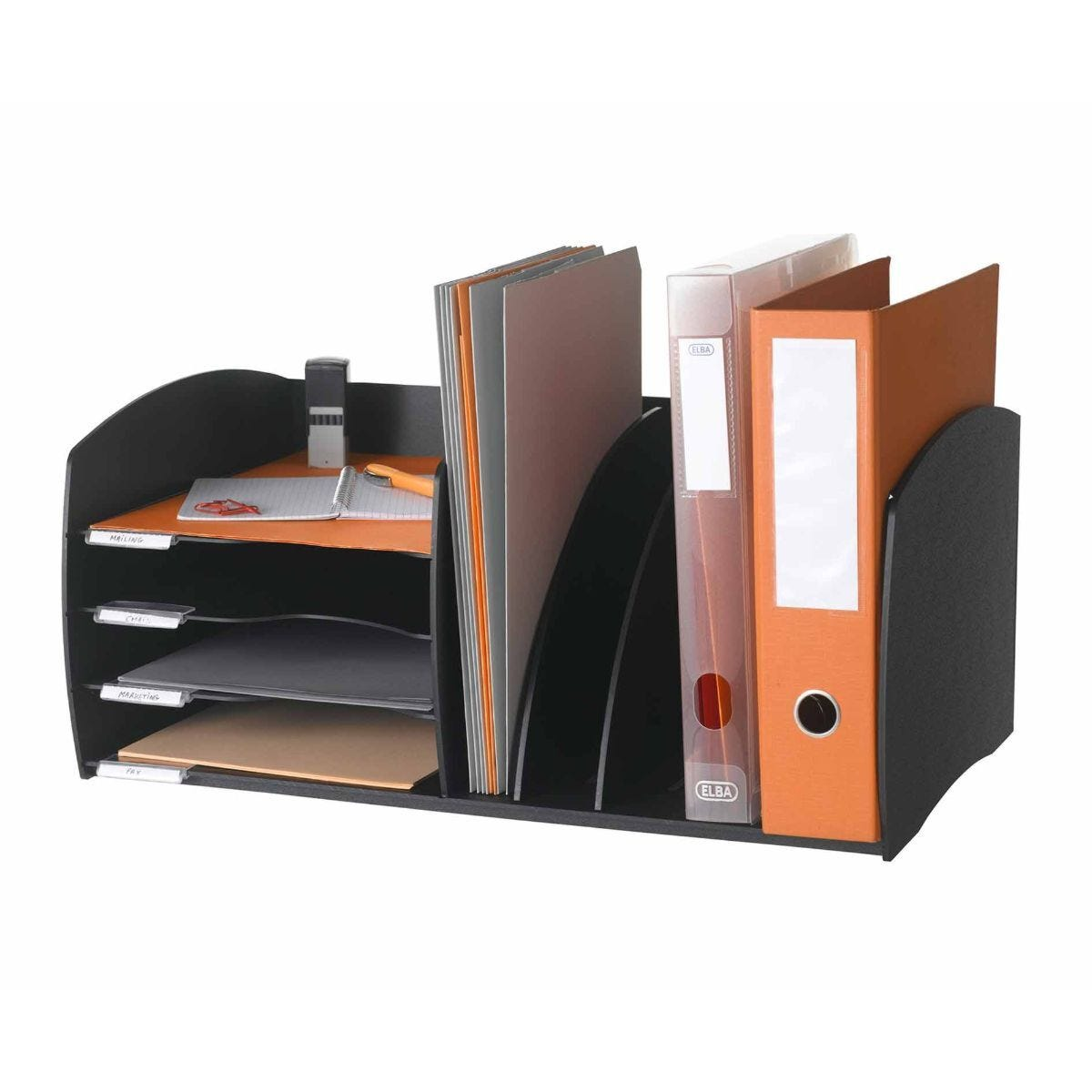 Fast Paper 4 Compartment Desk Organiser Black