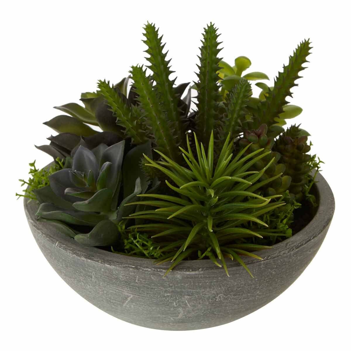 Interiors by PH Faux Mixed Succulents in Stone Bowl