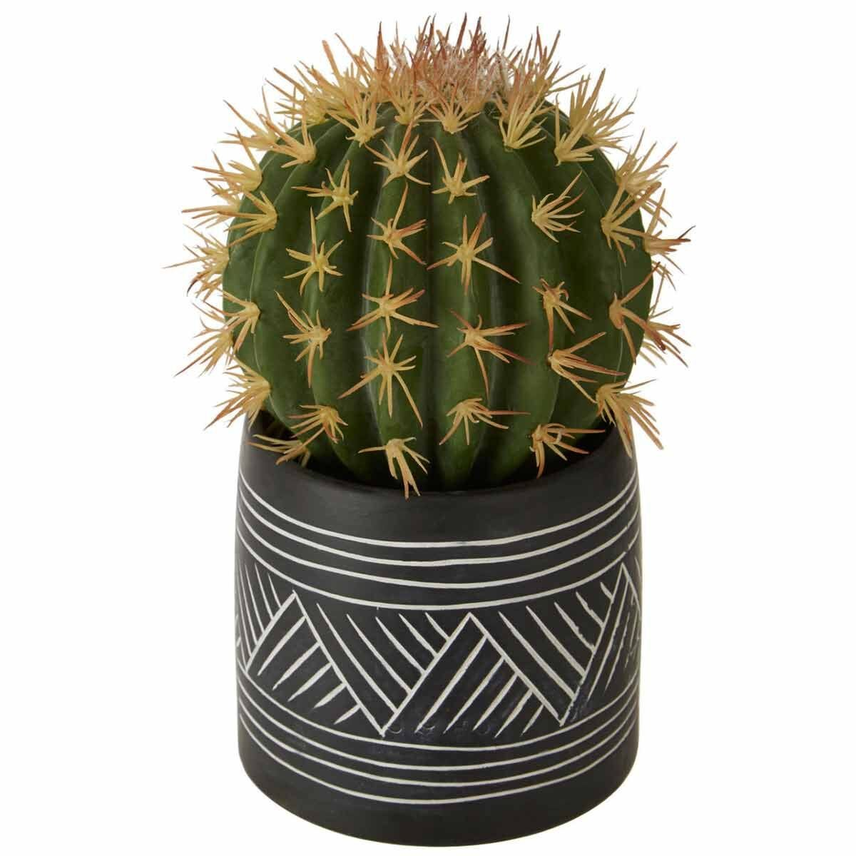 Interiors by PH Faux Cactus in Cement Pot