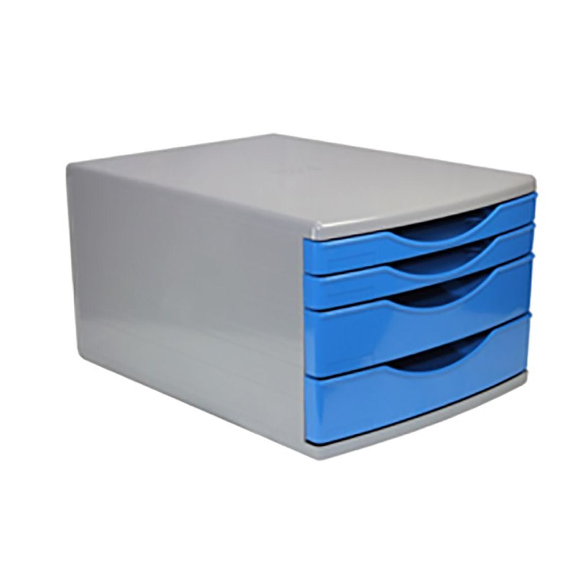 Deflecto 4 Drawer Stackable Tower Blue