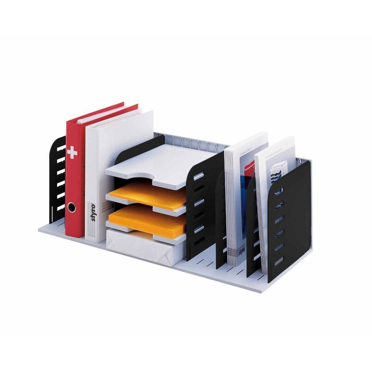 Styrorac Vertical Desktop Organiser 8 Compartments with Shelving