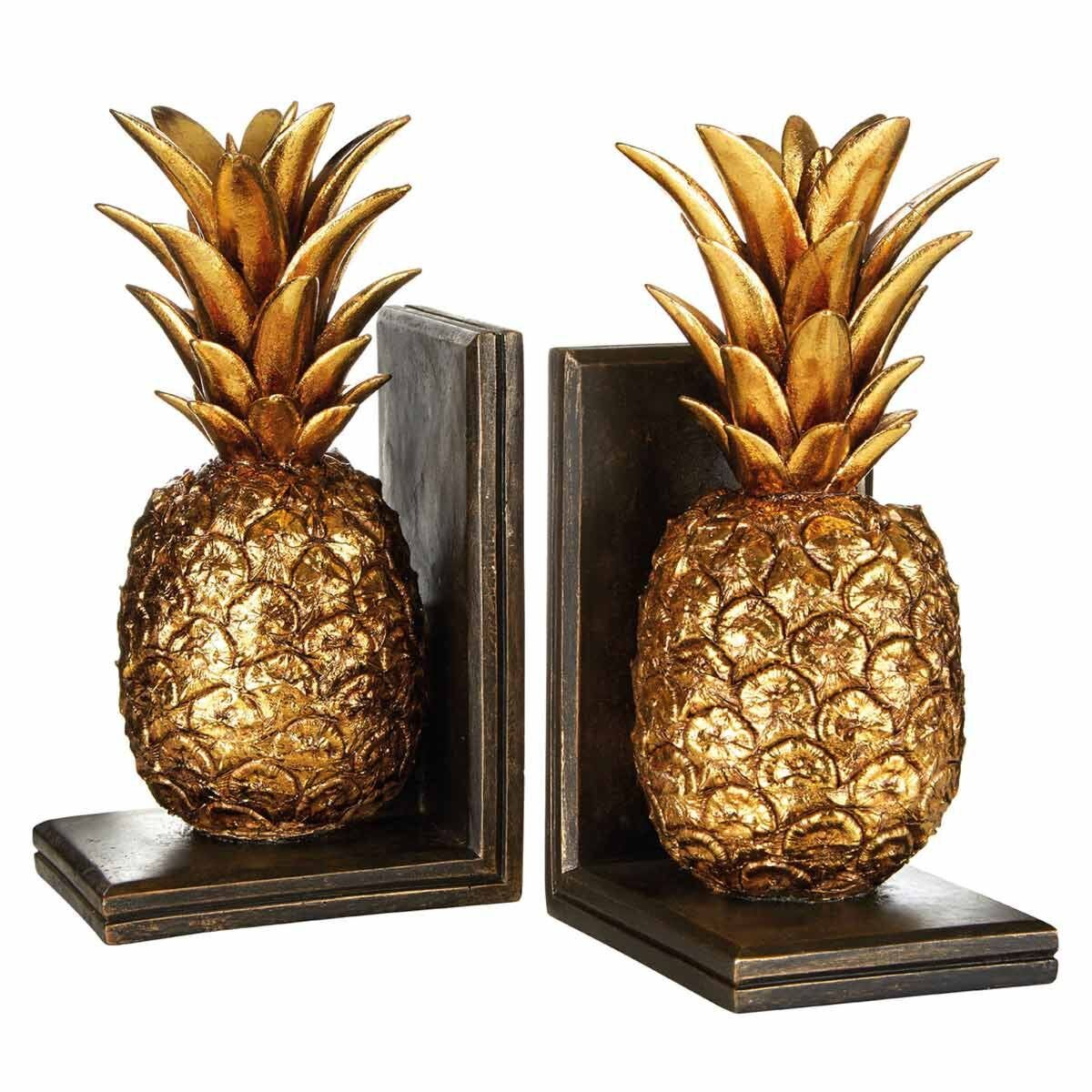 Premier Housewares Set of 2 Bookends Metallic Pineapples