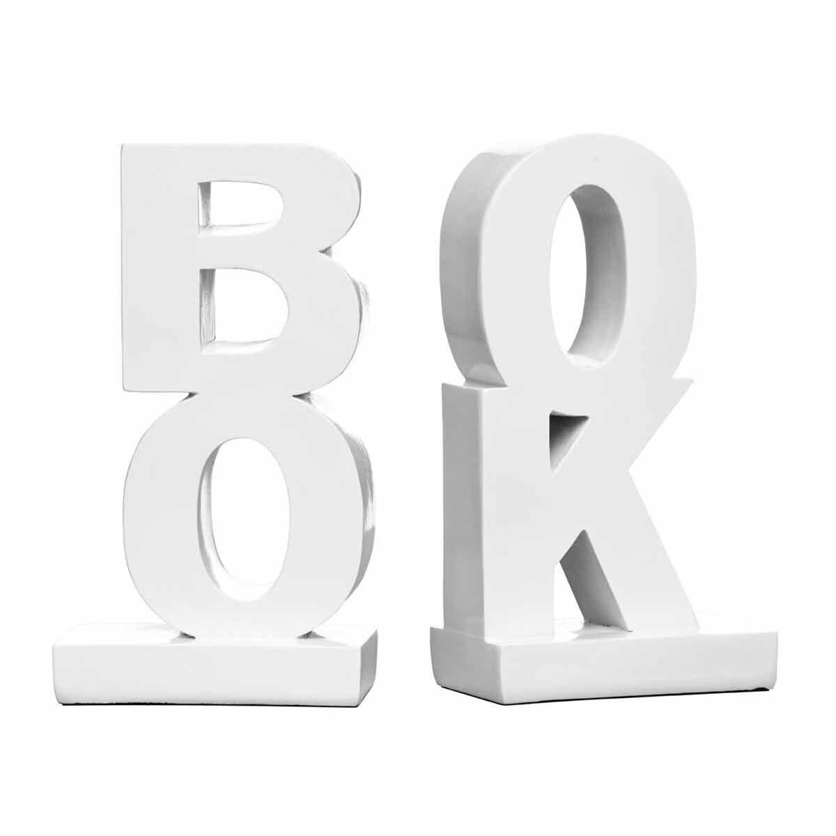 Premier Housewares Set of 2 Bookends Book Design White