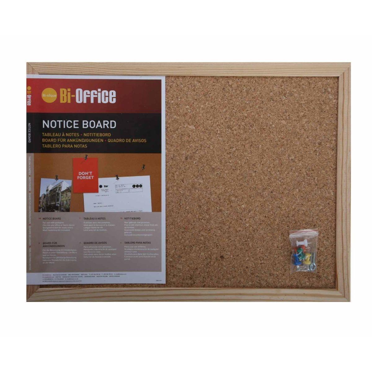 Bi-Office Cork Notice Board 400x300mm