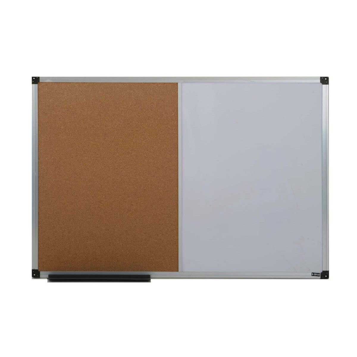 Bi-Office Cork and Magnetic Dry Wipe Combination Notice Board 600x900mm Aluminium