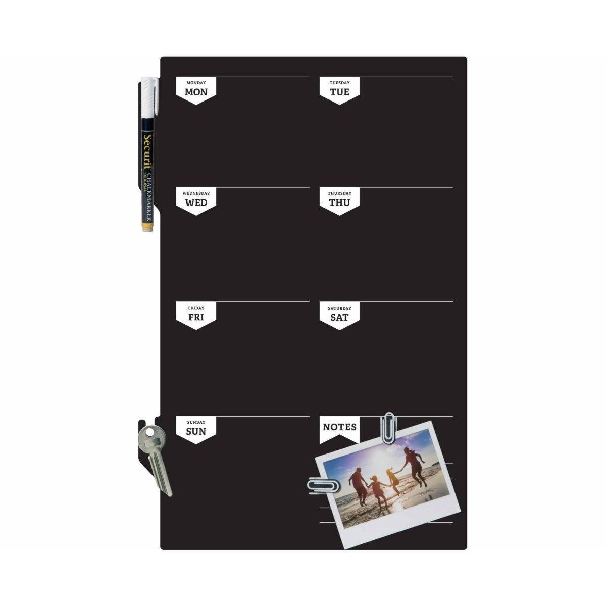 Securit Silhouette Chalkboard Week Planner with Marker