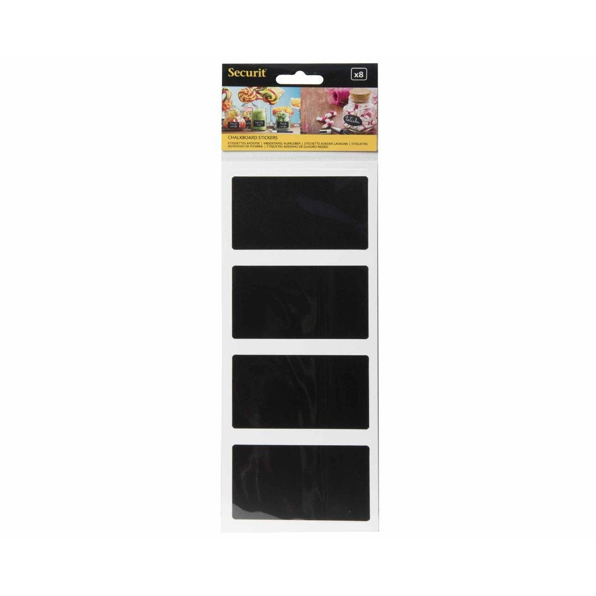 Securit Rectangle Chalkboard Stickers Pack of 8