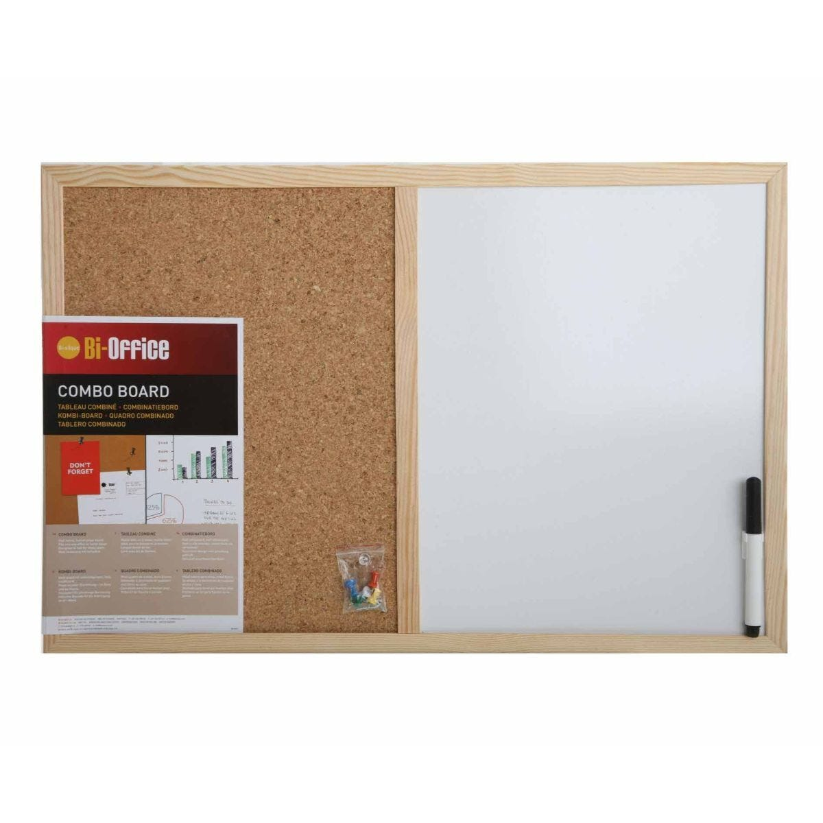 Bi-Office Cork and Dry Wipe Combination Notice Board with Pen 600x400mm