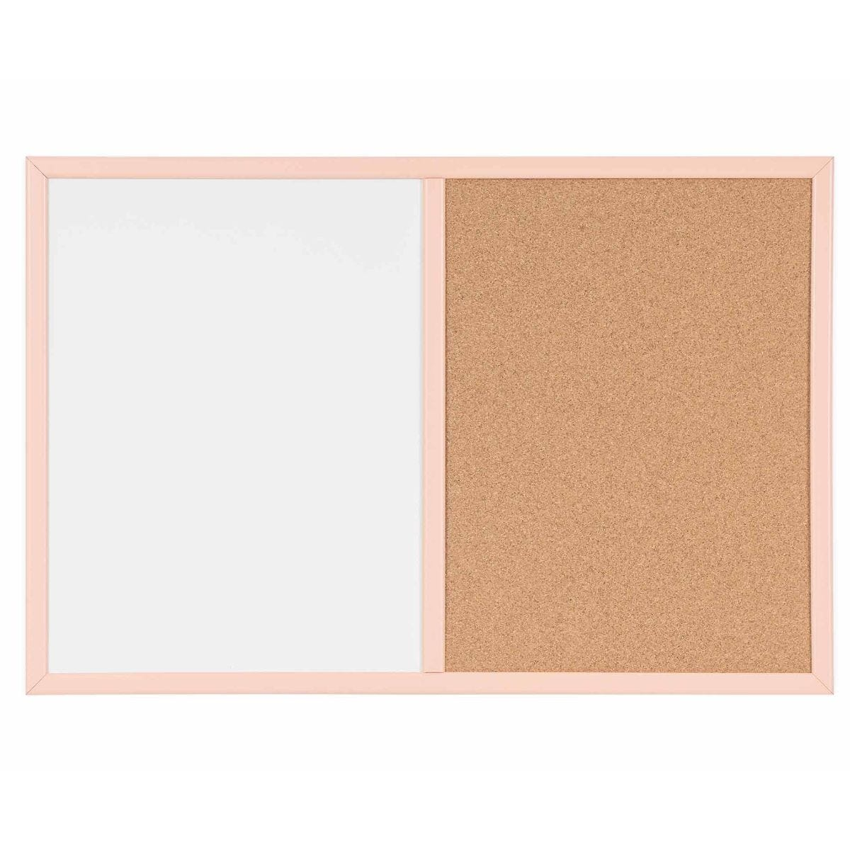 Dry Wipe Cork and Magnetic Combo Board Pastel Frame 600x400mm Salmon