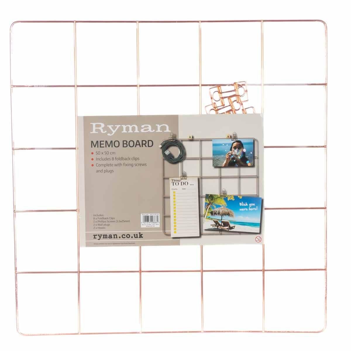 Ryman Memo Board 500x500mm and Clips