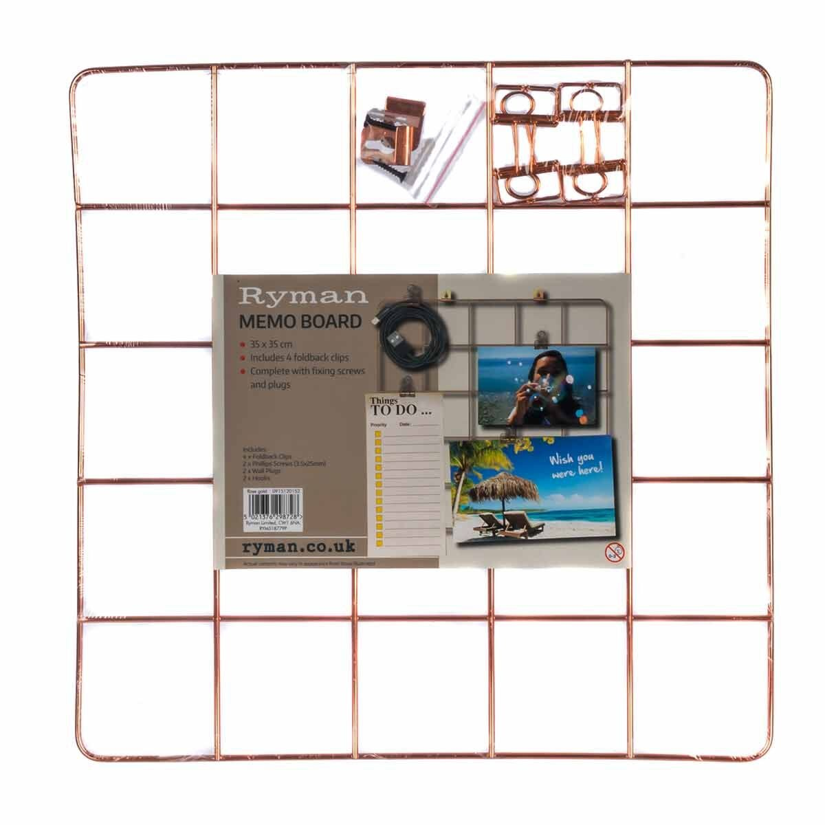 Ryman Memo Board with Clips 350x350mm Rose Gold