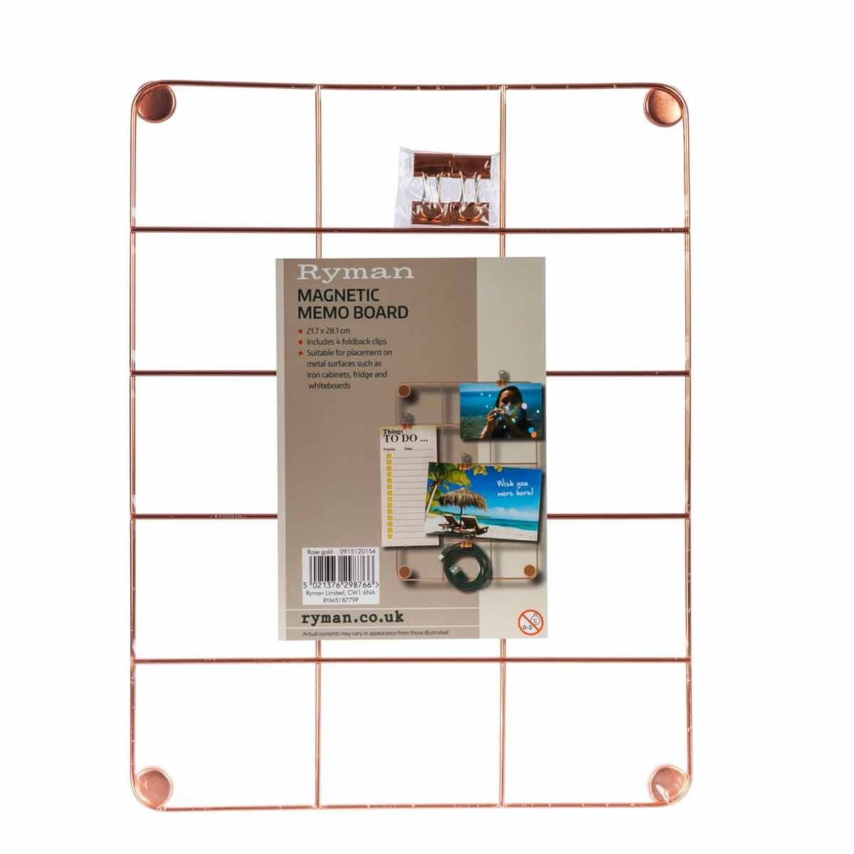 Ryman Memo Board with Clips 217x281mm Rose Gold
