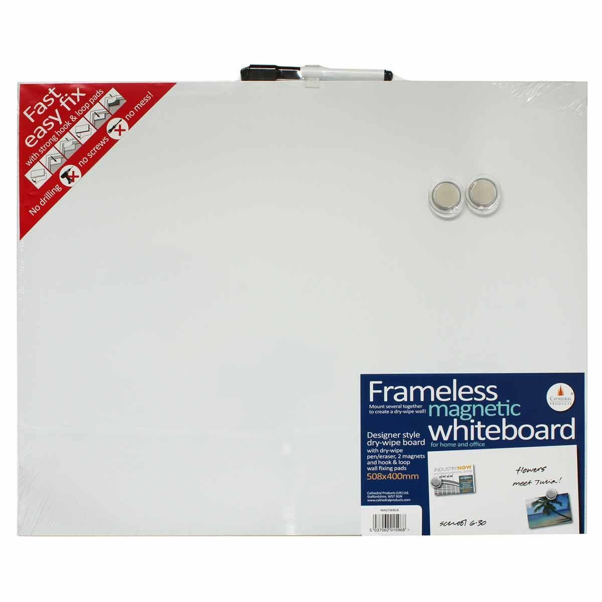 Frameless Blank Magnetic Whiteboard 400mm x 508mm