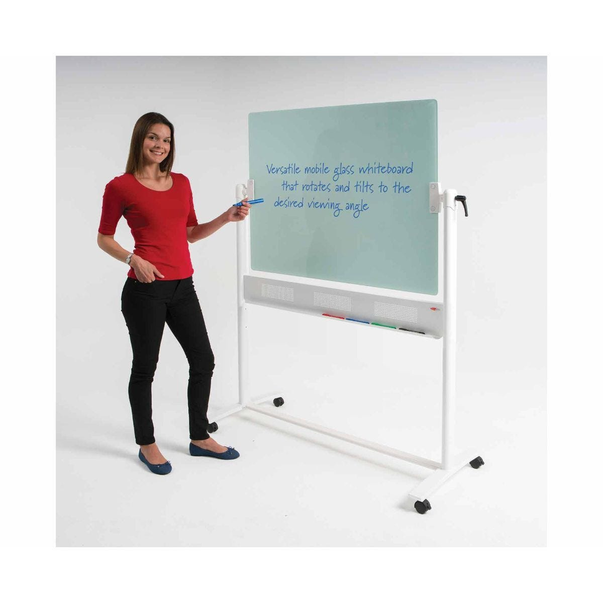 Metroplan WriteOn Magnetic Glass Revolving Whiteboard