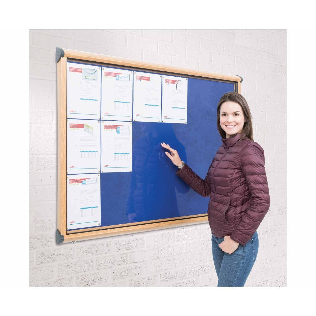Metroplan Shield Wood Effect Exterior Showcase Display Board Fits 4 x A4 Portrait