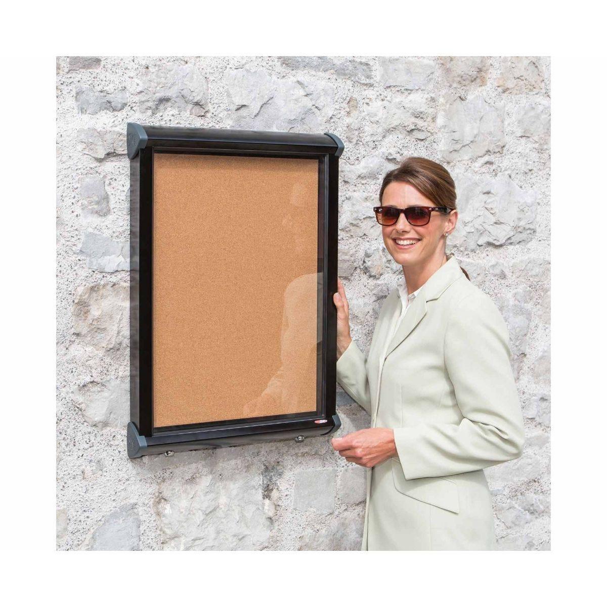Metroplan Shield Exterior Showcase Cork Display Board Fits 12 x A4 Portrait