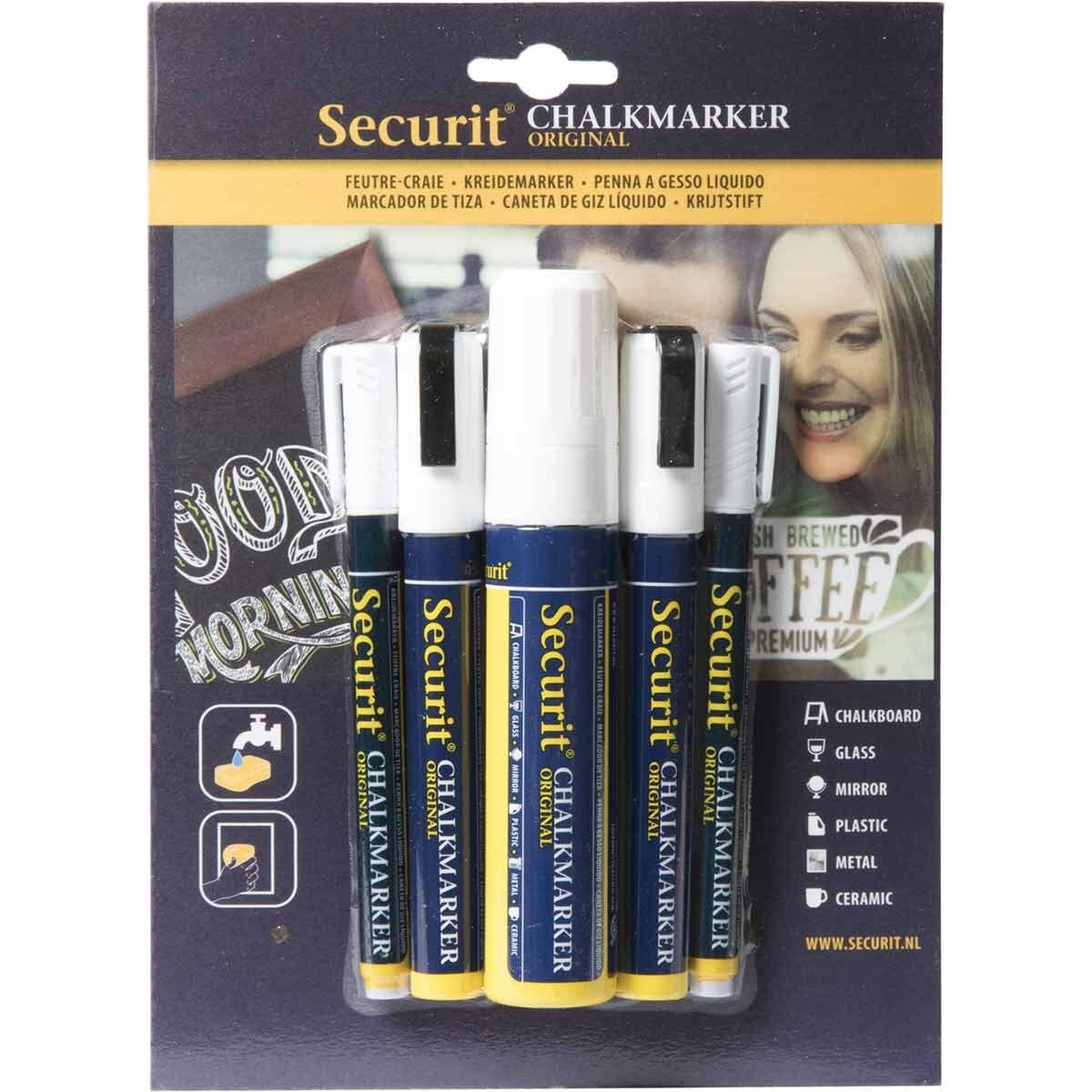 Securit Liquid Chalk Markers White Pack of 5