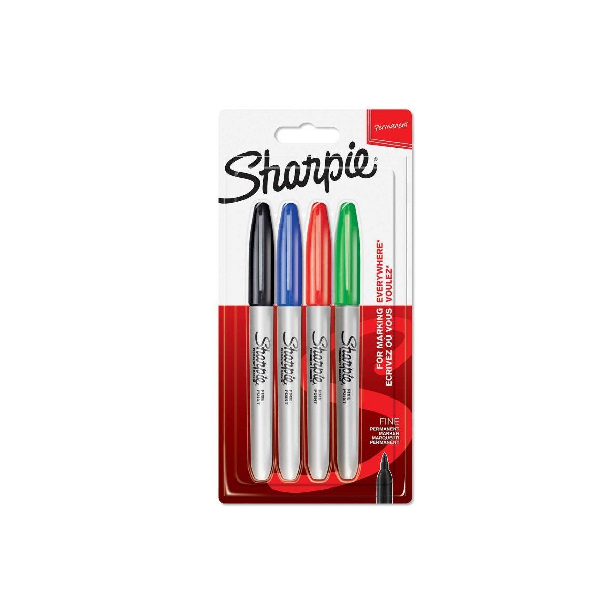 Sharpie Marker Pens Permanent Fine Point Pack of 4