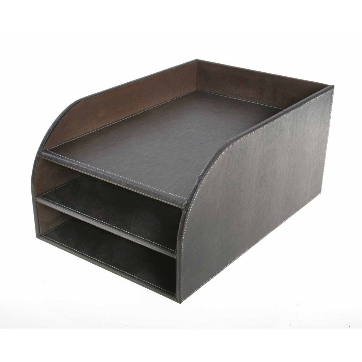 Osco Letter Tray 3 Tier Faux Leather
