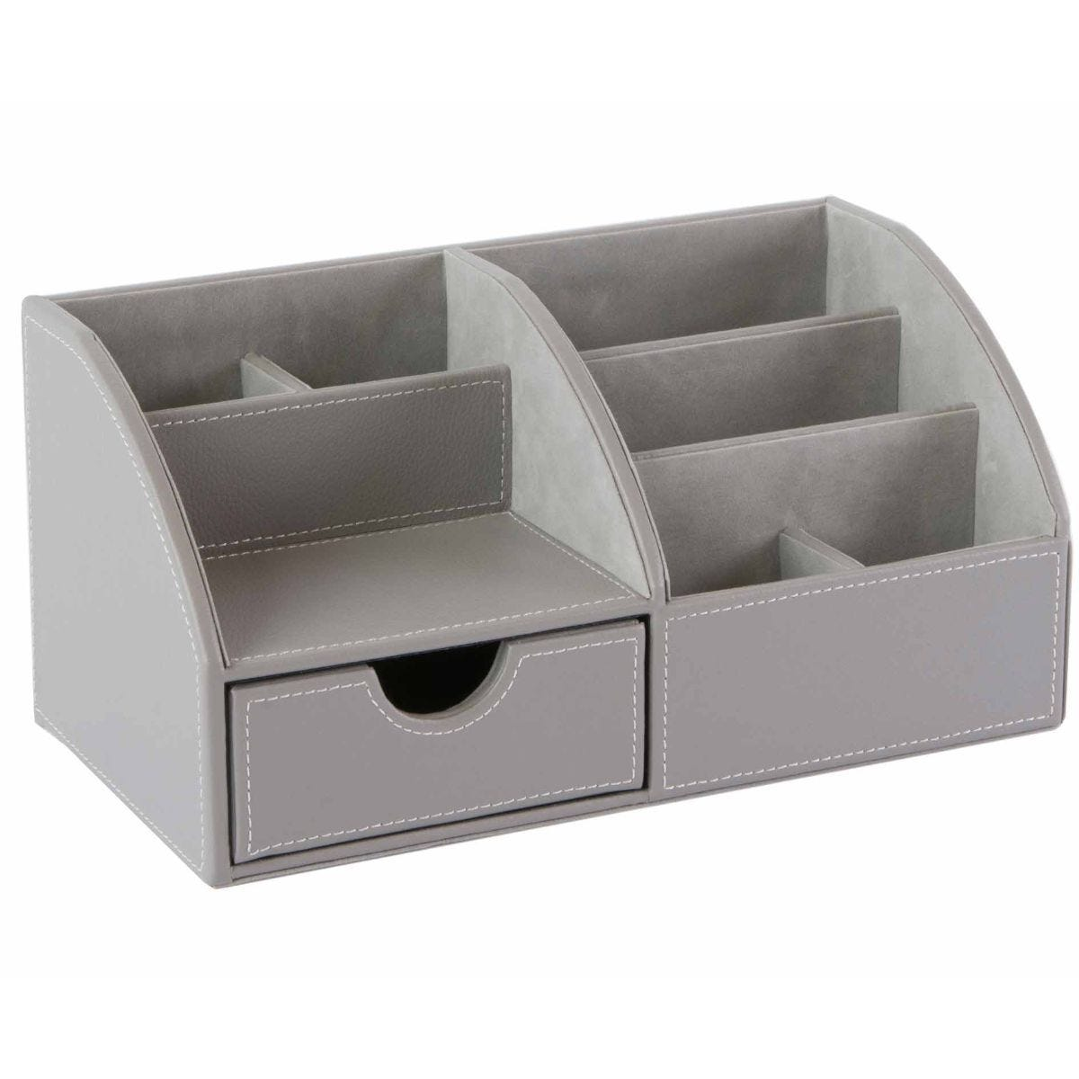 Osco Desk Organiser Grey Faux Leather
