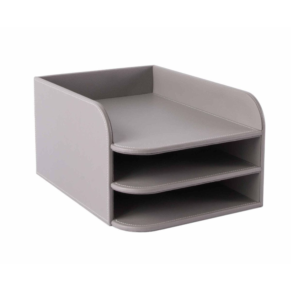 Osco 3 Tier Letter Tray Grey Faux Leather