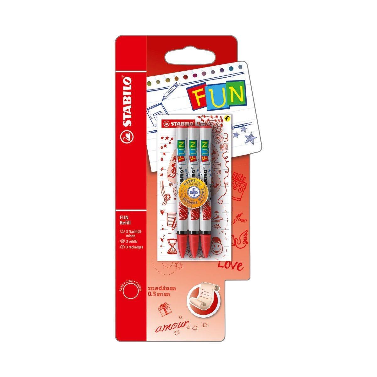 STABILO Fun Refill 3 Pack Plus 2 Concept Stickers Lilac