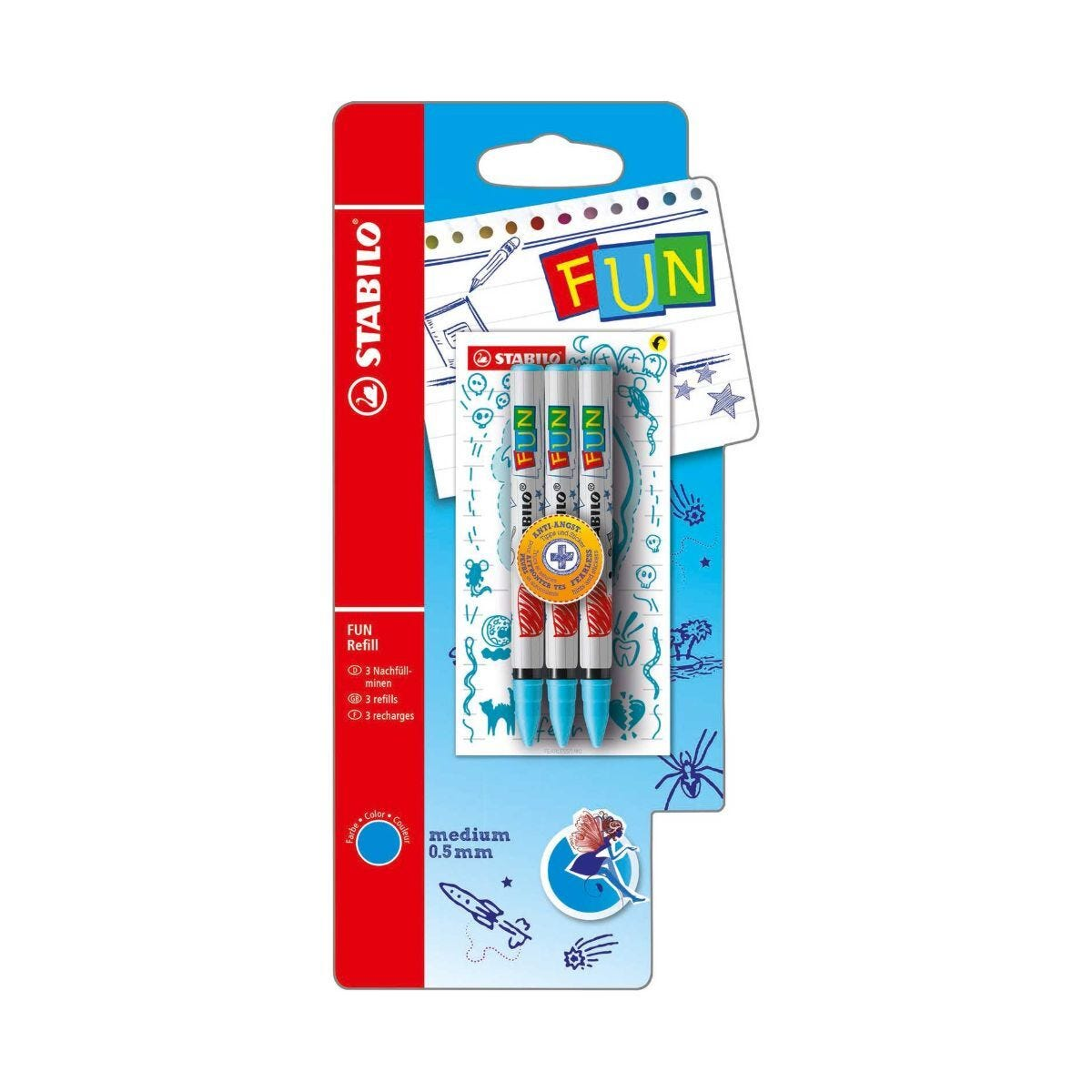 STABILO Fun Refill 3 Pack Plus 2 Concept Stickers Turquoise