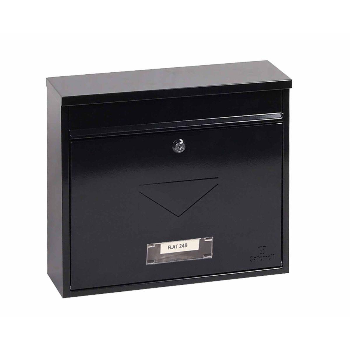Phoenix Correo MB0118KB Front Loading Mailbox with Key Lock Black