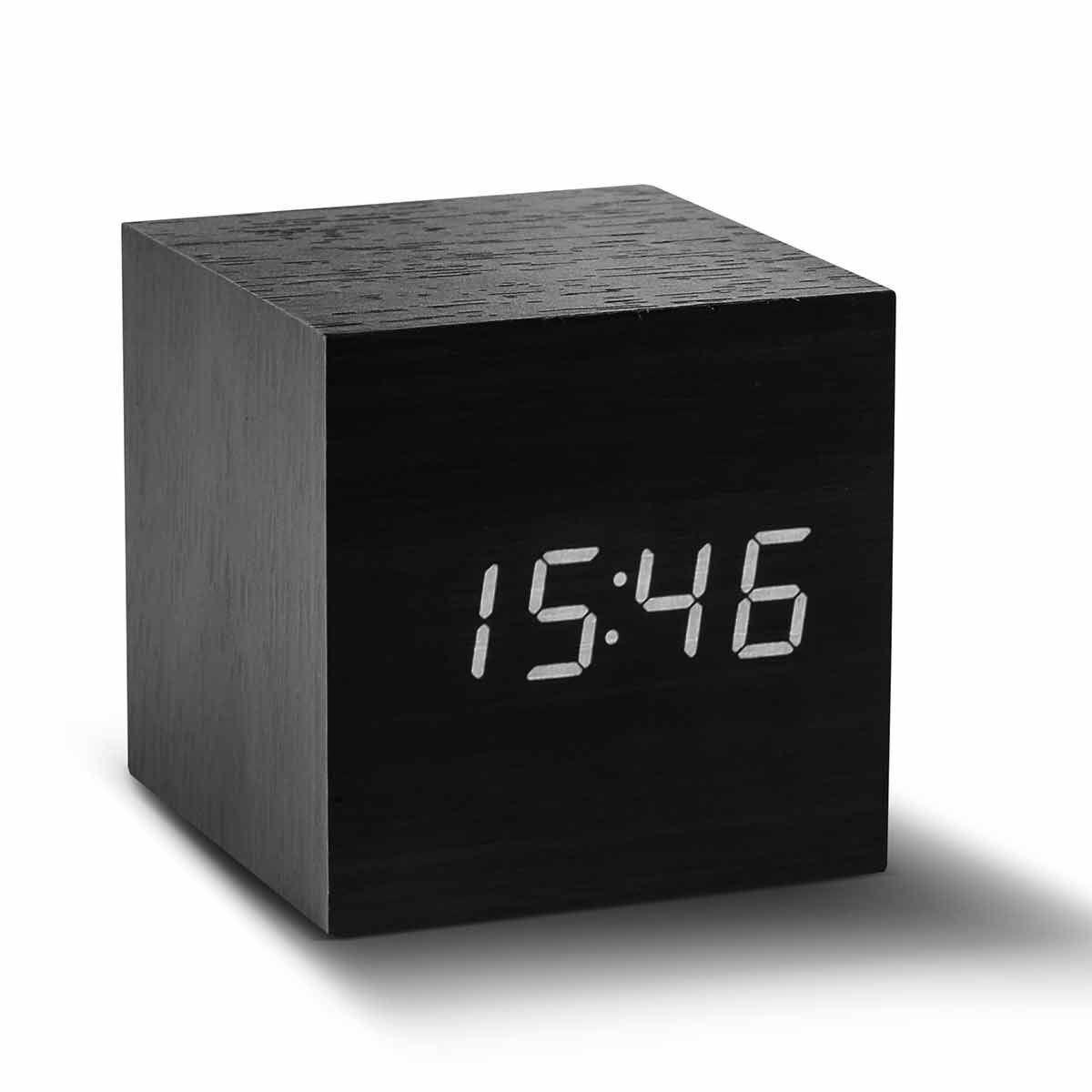 Gingko Cube Click Clock Black