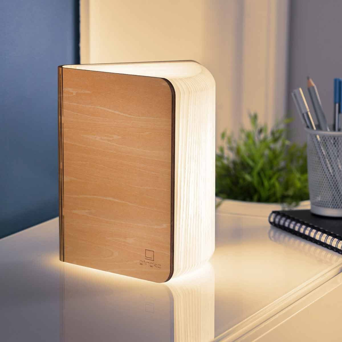 Gingko Large Smart Wooden Book Light Maple