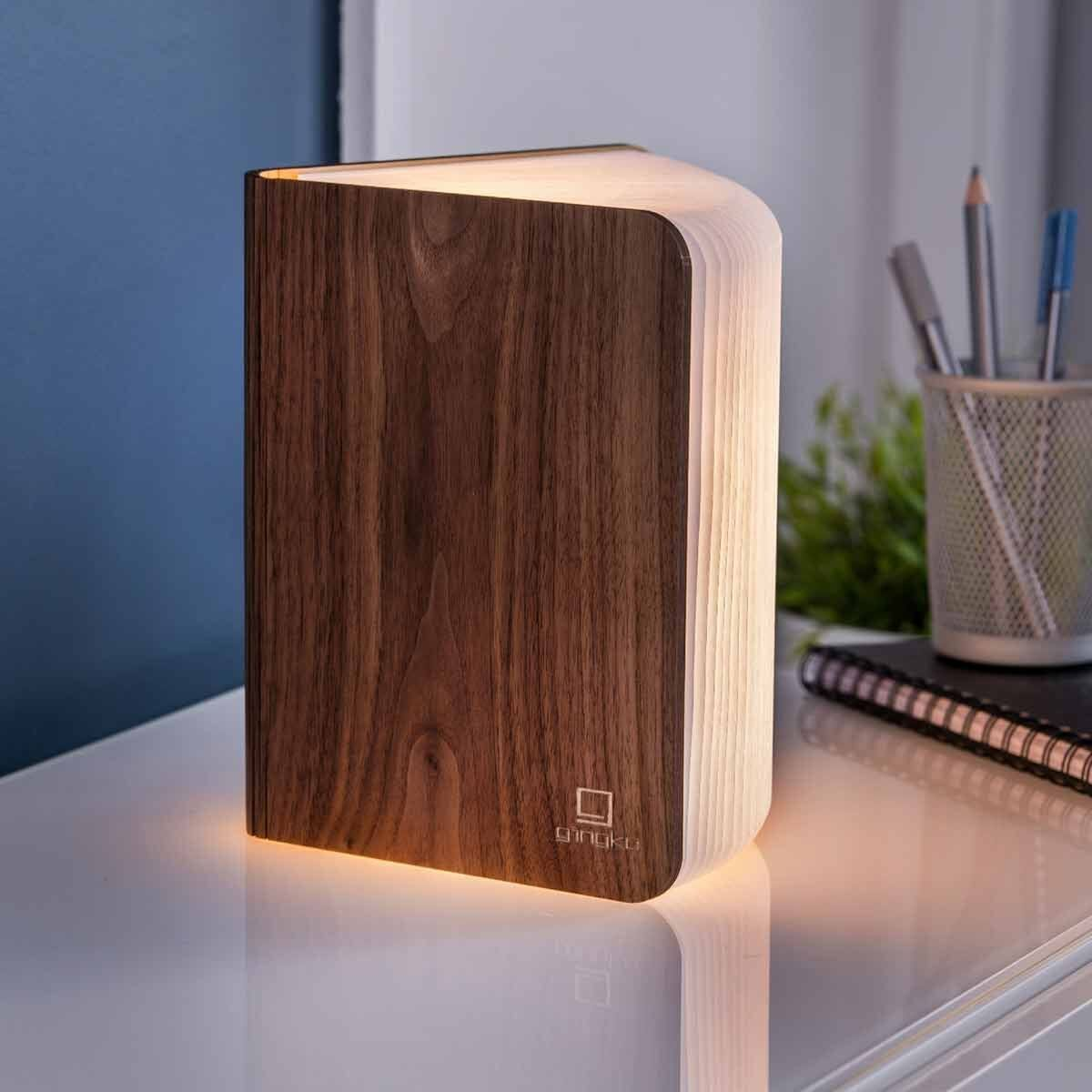 Gingko Large Smart Wooden Book Light Walnut