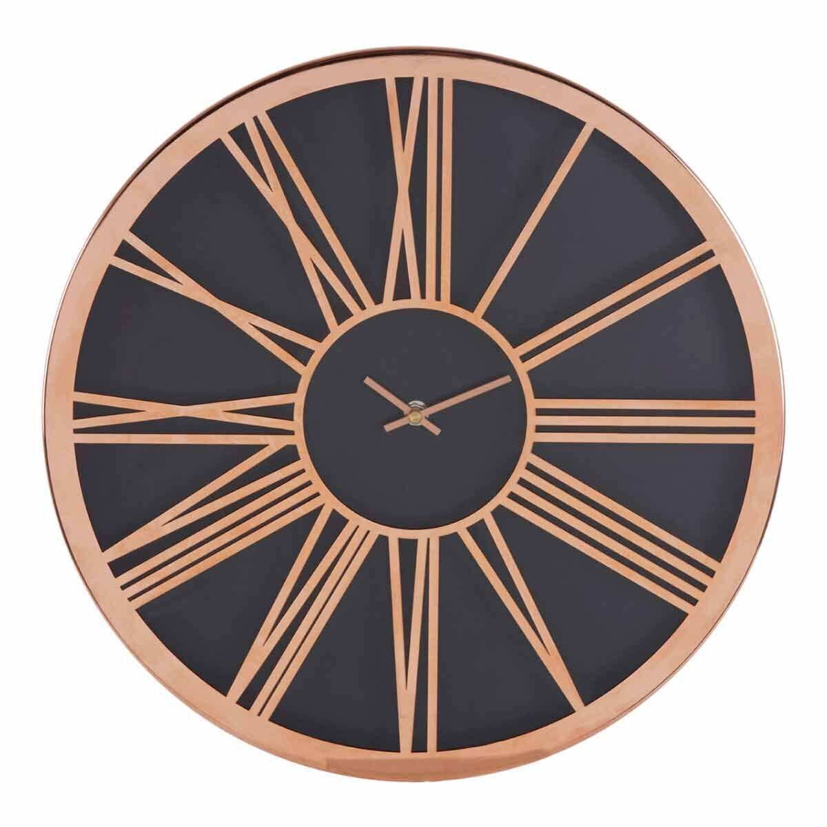 Premier Housewares Baillie Wall Clock 40cm Black/Rose Gold