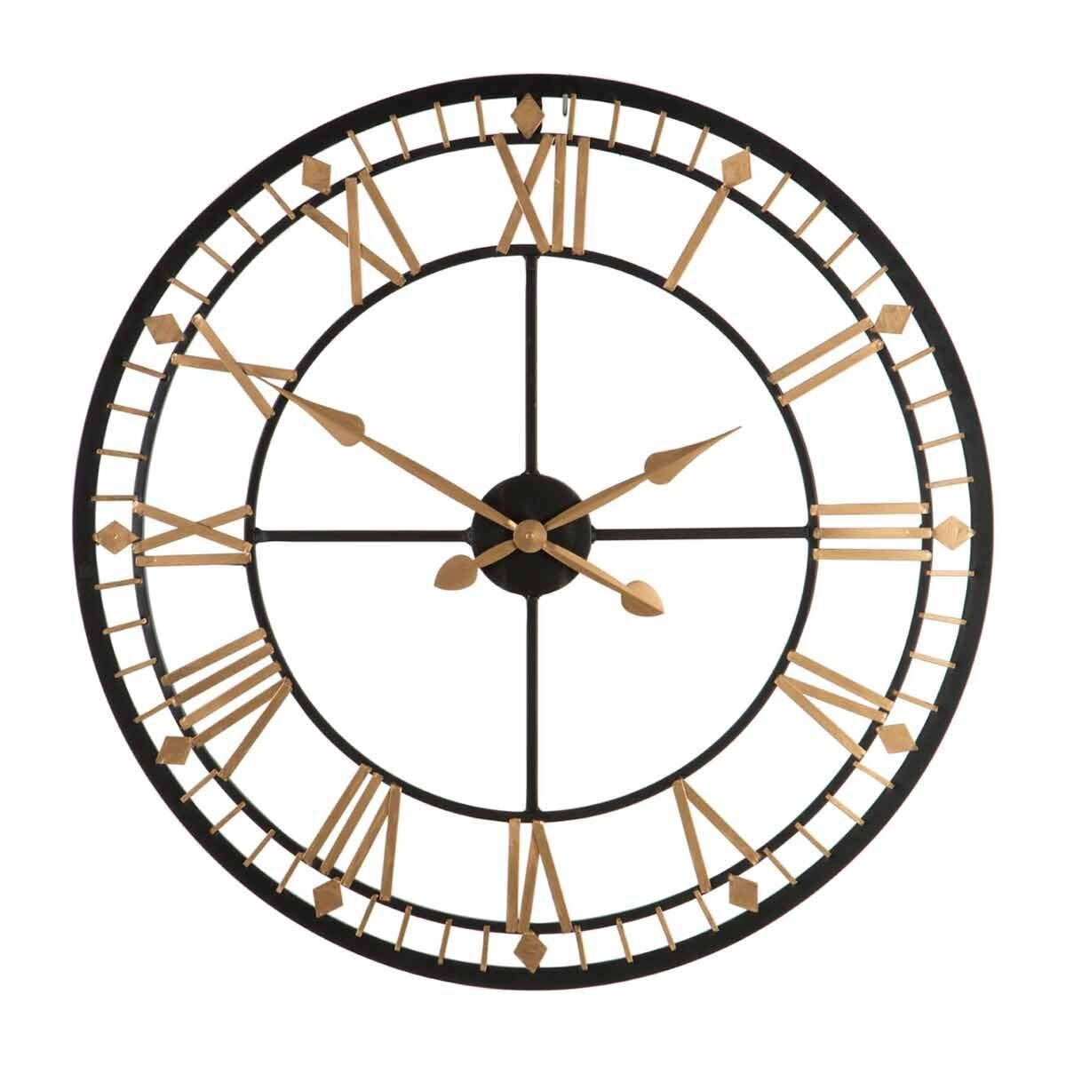 Premier Housewares Metal Wall Clock 80cm Black and Gold