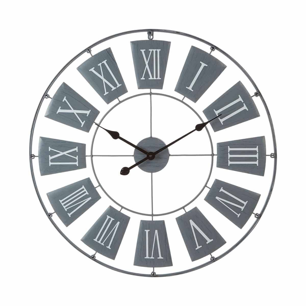 Premier Housewares Metal Wall Clock 90cm Grey