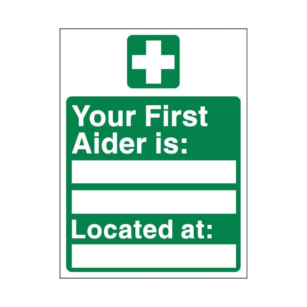 PVC Sign Your First Aider 300x100mm