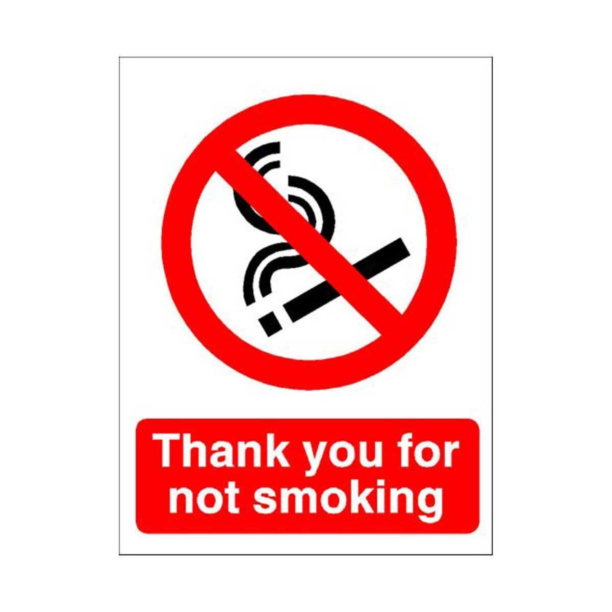 PVC Sign Thank You For Not Smoking 150x200mm
