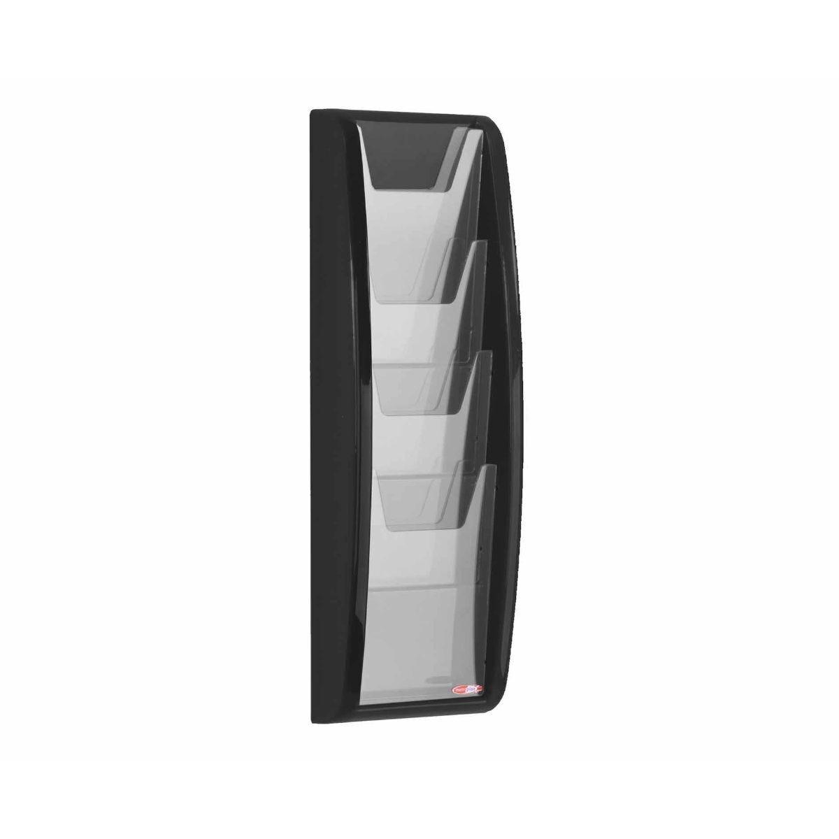 Metroplan Panorama Wall Mounted Leaflet Dispenser 4 x A5 Black
